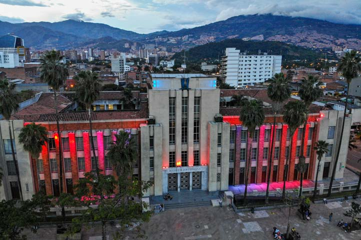 Drone photo of Antioquia Museum in Medellin Colombia