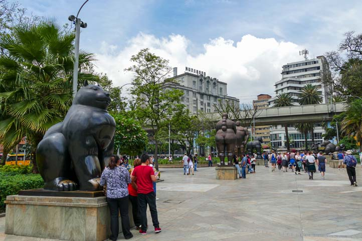 People at the Botero Square in Medellin Colombia