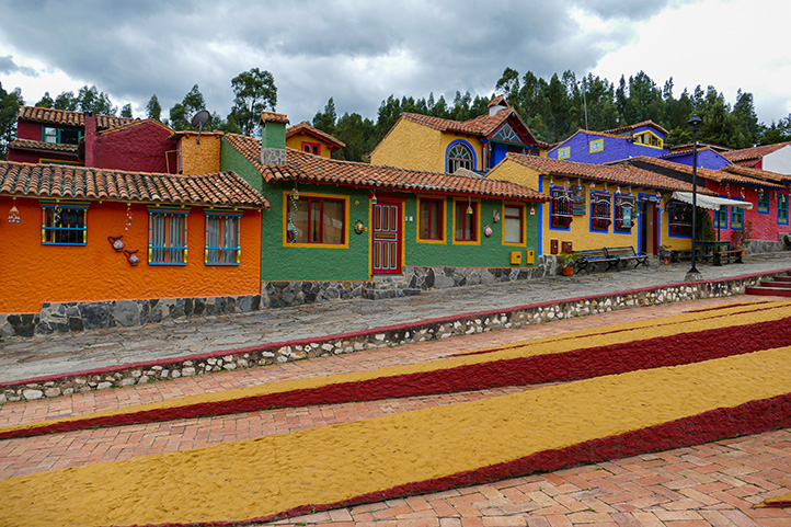 Colorful houses of Pueblito Boyacense in Colombia