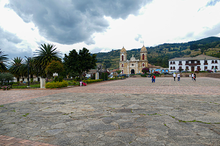 Central square of the colonial town Tibasosa in Boyacá Colombia